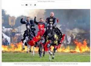 Knights on horseback, Herstmonceux medieval festival